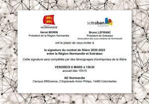 Invitation Signature contrat de filière SOTRABAN Région Normandie