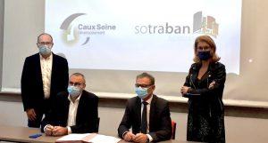 Signature de convention de partenariat entre SOTRABAN et Caux Seine Développement